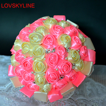 Best Selling pink and yellow Brooch Bouquet Wedding Bouquet de mariage Polyester Wedding Bouquets Pearl Flowers buque de noiva(China)