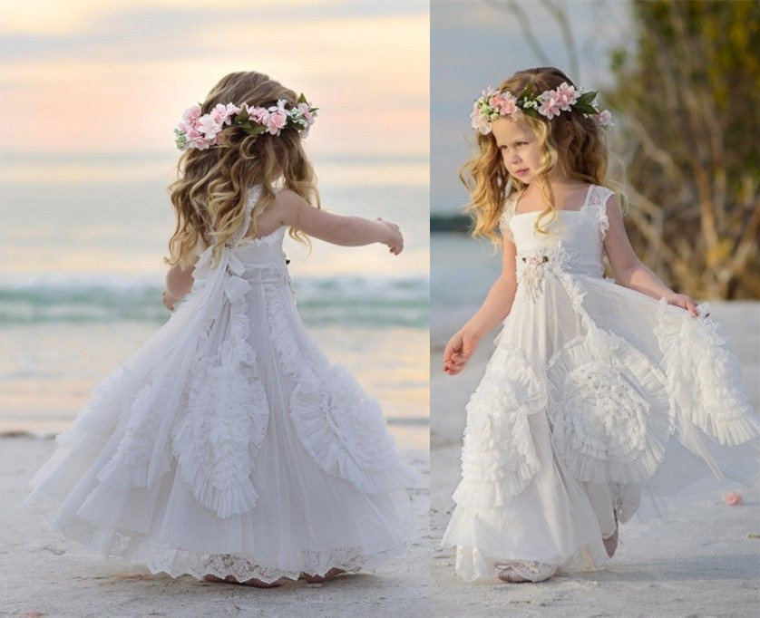 2016 Beautiful 3 D Flowers Formal Lace Baby Princess Bridesmaid Beach Flower Girl Dresses Wedding Party Dress<br><br>Aliexpress