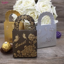 2017 New 25pcs Handbag Design Wedding Favor Candy Box Gift Box,White/Ivory Golden 5 color Candy Box Wedding Party Decoration