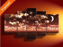 Unique moon night scenery oil painting 5 panels canvas art for kids room decoration high quality reproduction oil painting