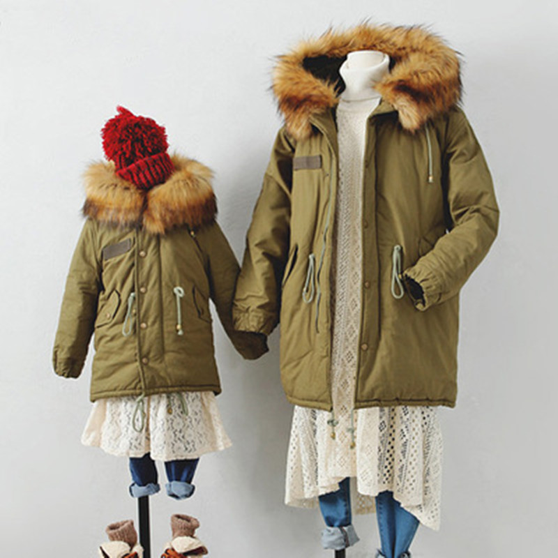 Winter Family Matching Outfits Children Coats Thickening Faux Raccoon Fur Hooded Boys &amp; Girls Outwear With Velvet Mother Jackets<br><br>Aliexpress