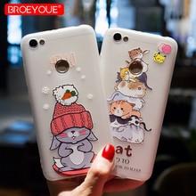 BROEYOUE Case Xiaomi Redmi 4X 4A Note 4 4X 5A Redmi 3S 2 Xiaomi 5X Mi 4I 4C 5C Mi 5S Mi6 Relief Silicone Cute Cat Cover