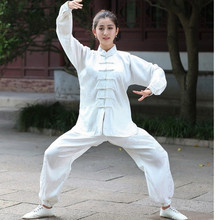 White Traditional Chinese Women Sportswear Silk Satin Tai Chi Kung Fu Suit Female Vintage Button Clothing M L XL XXL XXXL