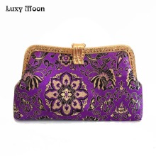 LUXY MOON Evening Bag Women's Purse Wallet New Arrival Satin Brocade Clutch Handbag with Chain Shoulder Bags Flower Leaves ZD791(China)
