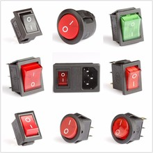 Rocker switch Power switch LED  3A 6A 16A 250V 31x25mm 2 3 4 6 pin terminals 1PCS FREE SHIPPING