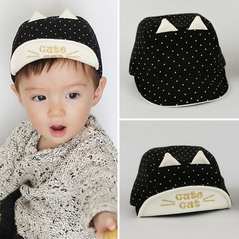 Summer Baby Sun Hats Soft Brim Baseball Beret Cute Baby Cap Cat Ears Bonnet Cotton Baby Outdoor Caps Boy Girl for 1-3Y baby(China (Mainland))