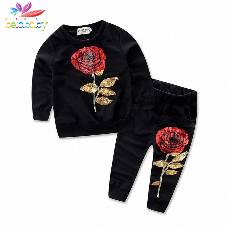 Belababy Girl Clothing Set 2017 New Autumn Girls Long Sleeve Sequin Rose Flower T-shirt+Pant Kids 2PCS Clothes Sets For Girls<br><br>Aliexpress