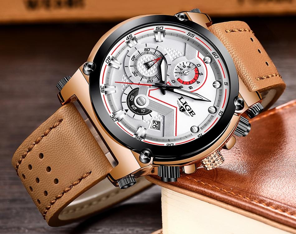 Reloje 18 LIGE Men Watch Male Leather Automatic date Quartz Watches Mens Luxury Brand Waterproof Sport Clock Relogio Masculino 19