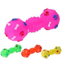 Resistant To Bite Dog Toys Dotted Dumbbell Shaped Dog Squeeze Squeaky Pet Chew Toy Faux Bone Pet Sound Products For Dogs Pets(China)