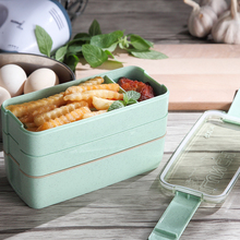 WORTHBUY 3 Layers Japanese Microwave Bento Box Wheat Straw Plastic Lunch Boxs Kids Picnic Camping Container For Food Storage