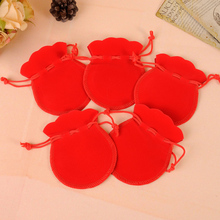 Top Quality 50pcs/lot 7x9cm Gourd-type Red Velvet Pouches For Jewelry Gift Bag Drawstring Pouch Necklace Packaging(China)