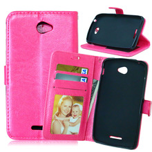 Built Silicone Base Leather Case for Sony Xperia Ericsson E4 E2104 E2105 E2115 Flip Wallet Cover with Stand Card Holder Function