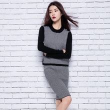 Women Sweater Sets 2Pics Dress and Pullovers Cashmere Knitting O neck Spring New Brand Jumpers Lady Fashion Knitwear suits(China)