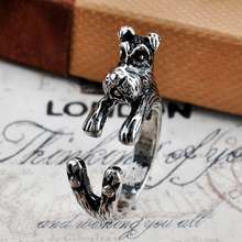 1pc Antique Silver Schnauzer Dog Rings Cute dog Family Rings Men Girl Gift For Friend Anel Jewelry