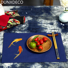 DUNXDECO 1PC 25x37CM Artistic Blue Golden Fish Embroidery Linen Cotton Table Placemat Home Store Party Table Cover Decoration