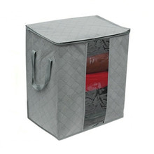 Charcoal Storage Box Foldable Clothes Blanket Closet Organizer Bag Case Space Saving Practical Household Bamboo Tools(China)