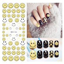Water Transfer Nai Art Stickers Big Smiling Face Smile symbol Harajuku Elements Colorful Nail Wraps Sticker Decorations Tools