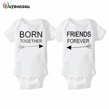 Fashion Summer White Baby Bodysuits 0-12Months Twins Baby Boy Girl Clothes 1st Birthday Gift For Babies Newborn Baby Clothing(China)