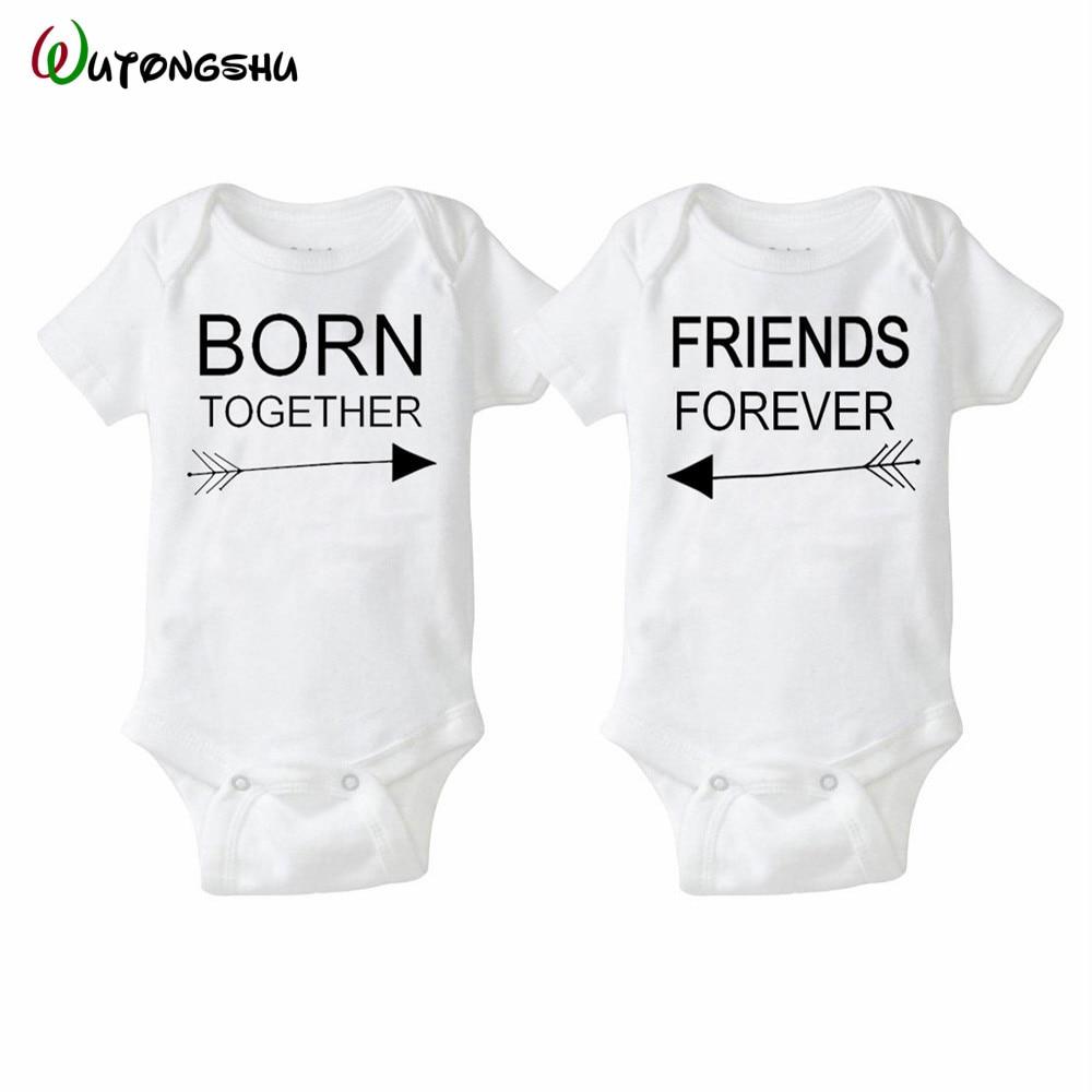 Мода лето белый детские боди <i>одежда для близнецов девочек</i> 0-12мес близнецы детские мальчик девочка одежда 1-й день рождения подарок для детей новорожденный clothing(China)