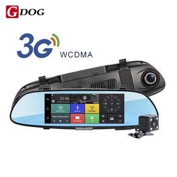"""Android 5.0 автомобильный видеорегистратор 7.0 """"IPS сенсорный экран 3 Г беспроводная камера 3 Г WCDMA B1 (2100) с двумя объективами зеркало заднего вида Gps навигации"""