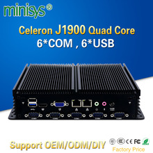 Minisys cheap fanless mini linux pc Intel celeron J1900 quad core barebone industrial computer embedded SIM slot support 3G/4G(China)