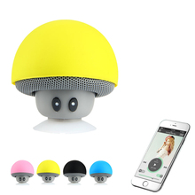 Wireless Bluetooth Speaker Mini Mushroom Speakers with Mic Sucker Cup Holder Stereo Music Player for iPhone Super Bass Speaker