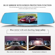 Best Dual lens Car dvr Mirror 4.3-inch Full HD 1080P Car Blue Rearview Mirror Camera Dvr Digital Video Recorder Auto Dash Camara