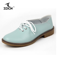 ZOCN Genuine Leather Shoes Woman Ballet Flats Oxford Shoes For Women Lace Up Flat Shoes Four Seasons Fashion Zapatos Mujer 35-42