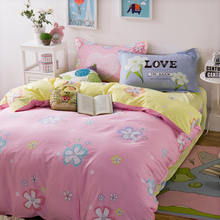Cartoon Pink Yellow Flowers Bedding Set 100% Cotton Girls/Kid Bedroom Decor 3d Duvet Cover Full Queen Sizes Bedlinen 4/5PC 400TC(China)