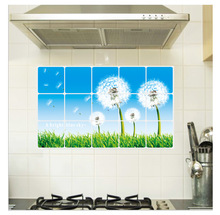 Hot Sell Hotel Restaurant Kitchen Wall Stickers Home Furnishing Dandelion Oil and Waterproof Removable Kitchen Wall Stickers