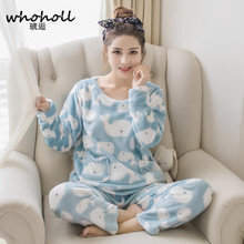 WHOHOLL 2017 winter women's flannel pajamas set long sleeves thicken coral velvet Cartoon Rabbit lovely home suits Sleepwear(China)