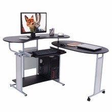 Goplus Expandable L-Shaped Computer Desk Office PC Table Corner Workstation 2 Usage Rolling Desks Home Office Furniture HW53472(China)