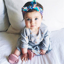 Fashion Baby Girl Headwraps Top Knot Printed Headband Children Infants Ears Bow Hairband Turban Baby Hair Accessories 1pc HB012(China)