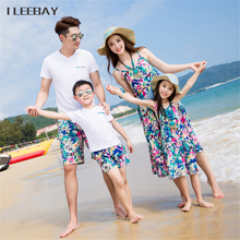 2017 Bohemian Style Mother Daughter Beach Dresses Dad/Boy T-shirts Tops+Shorts Family Look Outfits Family Matching Clothes Sets(China)