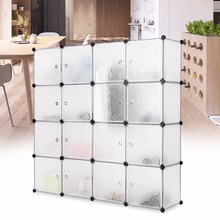 LANGRIA 16-Cube Curly Patterned Interlocking Modular Storage Organizer Shelving System Closet Wardrobe Rack with Doors for Home(China)