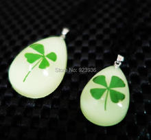 FREE SHIPPING 10 pcs Real Shamrock Four Leaf Clover Mix Necklace Glow Drop Shape Girl Lady Gift Boy St. Patrick's Day Present