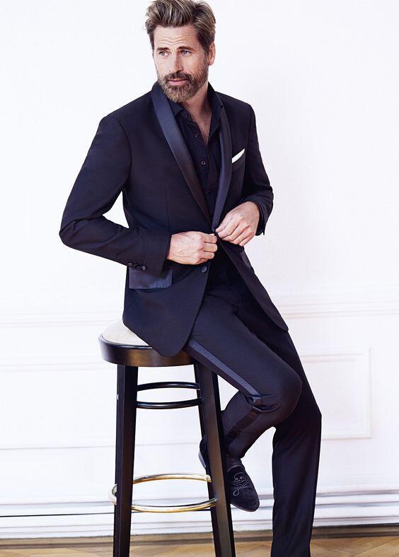 851 Latest Coat Pant Designs navy blue men suit satin shawl lapel men tuxedos suit for wedding evening party stage show jacket+pants
