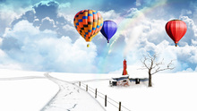 Modern Design Polyester Beach Towel Bath Towel Beautiful Amazing snowy colorful hot air balloon and rainbow huts kids adult
