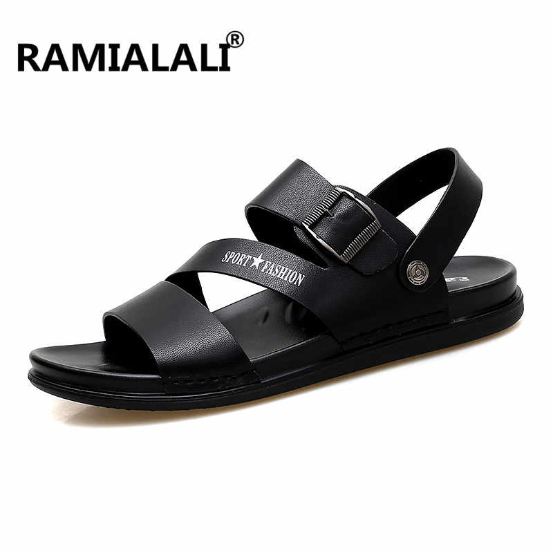 3a19f323c36fff Ramialali Men Sandals Summer Leather Fashion Beach Male Shoes High Quality  Casual Black Soft Men Beach