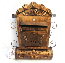 Villa Antique Wall Mount Cast Iron Mailbox Embossed Trim Decor tWall Mounted Mailbox(China)