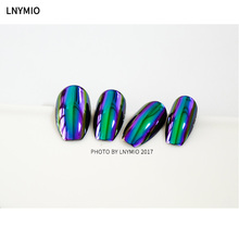 2017 New Mirror metal fake nails purple and green effect 24pcs press on nail tips(China)
