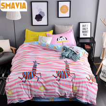 SMAVIA Cartoon Zebra Bedding Sets 3/4pc Dye Printing Bed Sets  Queen King Size Home Hotel Bed Linen Bed Sheet Duvet Cover Sets
