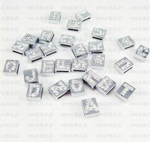 "8MM SQUARE CRYSTAL slide letters ""A-P"" (10 pieces/lot) Slide Charms Fit DIY Wristband & Bracelet(China)"