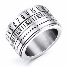 Personalized 14mm Men's Stainless Steel Silver Rotatable Spinner Ring with Numerals Design Free Engraving