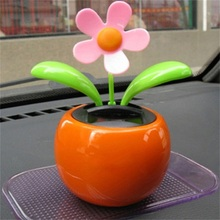 Home Decorating Solar Power Flower Plants Moving Dancing Flowerpot Swing Solar Car Toy Gift