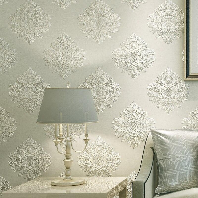 beibehang Retro European Damascus non woven wallpaper roll mural papel de parede 3d flooring floral wall paper for Living Room<br>