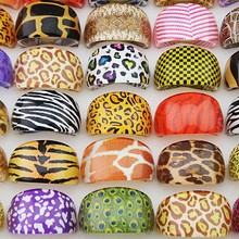 Hot Sale Mix 50pcs Zebra Leopard Tiger Top Resin Fashion Party Rings Children Girls Party Gift Wholesale Jewelry Lots A448