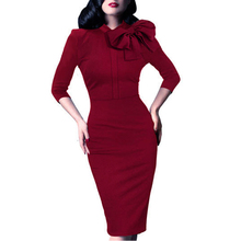 Mujeres de la vendimia del otoño elegante 1950 s retro rockabilly arco delantero partido formal de las empresas al vaina bodycon pencil dress b244