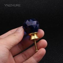 30mm 10pcs K9 Crystal Blue Knob Gold Base Single Hole Handle Drawer Cabinet Accessories Furniture Hardware Handle YZ-3001-Blue(China)