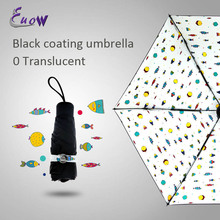 High Quanlity Aberdeen Fish printed Sun/Rain Three Folding Umbrella women Ultra-light Small Umbrella Black Coating Umbrella